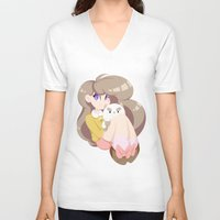 puppycat V-neck T-shirts featuring 2 cute 2 poot by Artfully Elyse