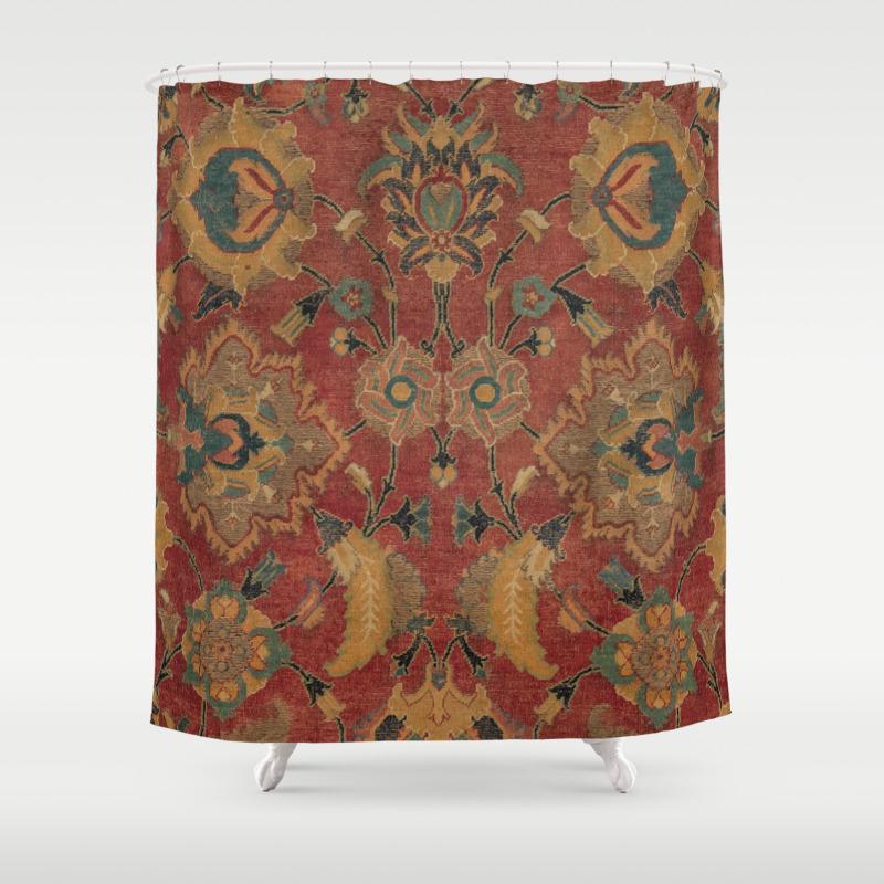 Ornate Accent Patte Shower Curtain, Burlap Bathroom Decor