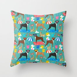Boxer dog breed beach summer fun dogs boxers pet portrait pattern Throw Pillow
