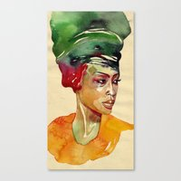 erykah badu Canvas Prints featuring Erykah by stefana