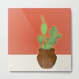 Prickly Pear Pot Polkadot Metal Print