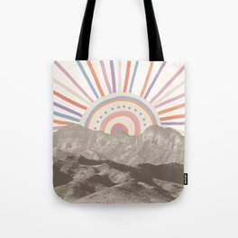 Summerlin Mountain Up // Abstract Vintage Mountains Summer Sun Surf Beach Vibe Drawing Happy Wall Ha Tote Bag