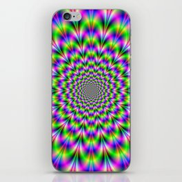 Neon Rosette in Pink Green and Blue iPhone Skin