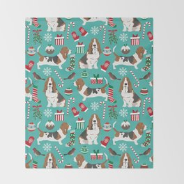 Basset Hound christmas pattern print pet friendly dog breed art for holiday decor Throw Blanket