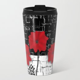 Retro. Red poppies on white background sulfur. Applique. Travel Mug