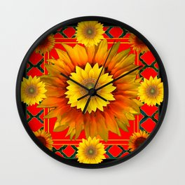 RED-BLACK  KANSAS SUNFLOWERS DECO ART Wall Clock