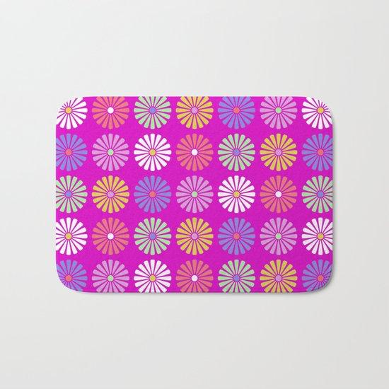 Pastel Flowers Pattern (On Purple/Pink) Bath Mat