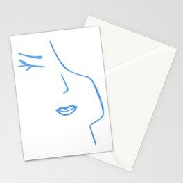Pastel Blue Elegant Feminine Woman Kind Minimalist Line Drawing Faces Stationery Cards