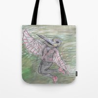 birdman Tote Bags featuring blackdeath birdman by melissa E