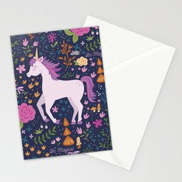 Be Magical Unicorn Pattern in a Garden Stationery Cards