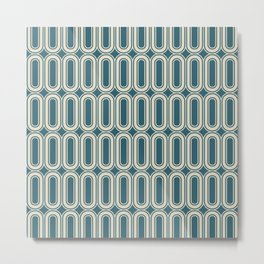 Retro wallpaper style ovals grid pattern teal Metal Print