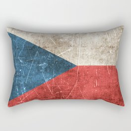 Vintage Aged and Scratched Czech Flag Rectangular Pillow
