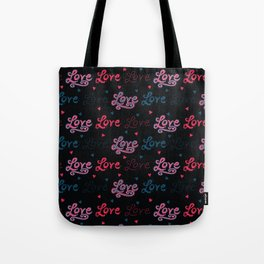 Red brush stroke dotty love hearts with denim blue stitched text Tote Bag