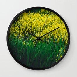 Yellow Sea of Flowers Wall Clock