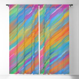 Color Overload Painting / Watercolor Hand Painted Tie-Dye Effect Gradient / Orange Yellow Blue Pink Blackout Curtain