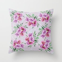 Purple mauve watercolor peonies falling bouquets Throw Pillow