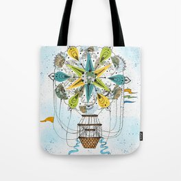 Hot Air Balloon Mandala Tote Bag