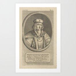 Portrait of Philip the Fair, Duke of Burgundy, Jan Punt, 1748 Art Print