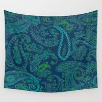 paisley Wall Tapestries featuring  paisley  by Ariadne