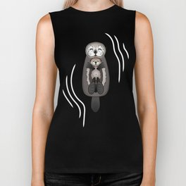 Mother and Pup Sea Otters - Mom Holding Baby Otter Biker Tank