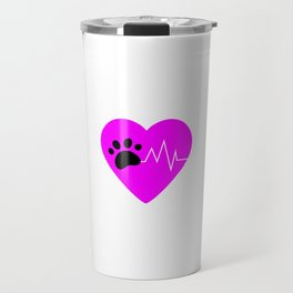 Pink Dog Paw Heartbeat Line Dog Lover Heartbeat Travel Mug