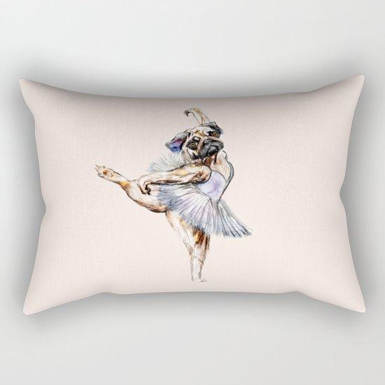 Pug Ballerina in Dog Ballet   Swan Lake  Rectangular Pillow