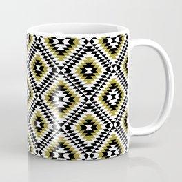 Aztec Diamond Symbol Gold BW Pattern Coffee Mug