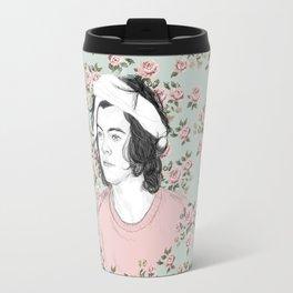 H circle floral  Travel Mug