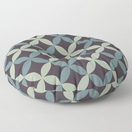 Blue-Green Purple Green Minimal Flower Pattern 2021 Color of the Year Aegean Teal and Accent Shades Floor Pillow