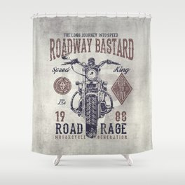 Delightful Vintage Motorcycle Poster Style Shower Curtain