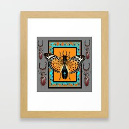 CONTEMPORARY  BUTTERFLY GREY STAG-HORNED BEETLES Framed Art Print