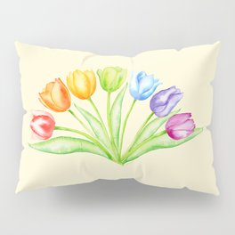 Rainbow Tulips, Flowers with Yellow Background Pillow Sham