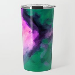 pink and green painting texture abstract background Travel Mug