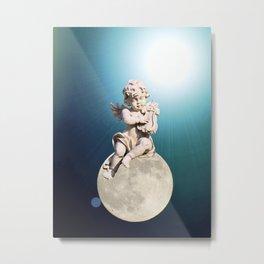 Child Angel Cherub Playing a Lyre on Moon A259 Metal Print