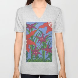 Boho Garden Blues Unisex V-Neck