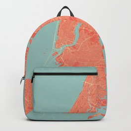 New York City Map in Coral Pink Backpack