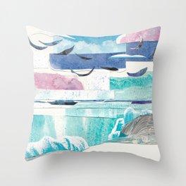 Beach with Sun and Moon Throw Pillow