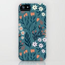 Beautiful Springtime Garden Daisy And Tulip Pattern iPhone Case