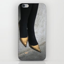 the girl in the gold shoes iPhone Skin