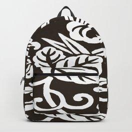 Espresso Brown Japanese Leaf Pattern Backpack