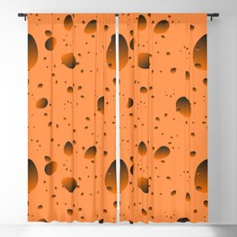 Large mustard drops and petals on a light background in nacre. Blackout Curtain