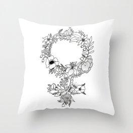 Feminist Flower  2.0 Throw Pillow