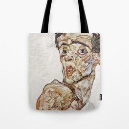 Egon Schiele - Self Portrait With Raised Bare Shoulder Tote Bag