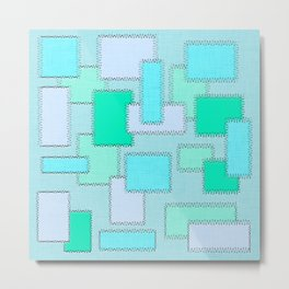 Turquoise Patches Metal Print