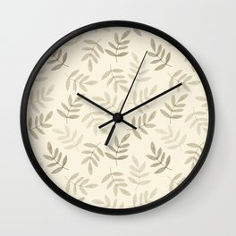 Vintage white gray black pastel color leaves pattern Wall Clock