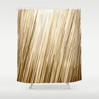 gold glitter Shower Curtains featuring Gold Glitter 0875 by Cecilie Karoline