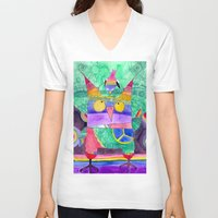 hippie V-neck T-shirts featuring Hippie Owl by Mesterpieces