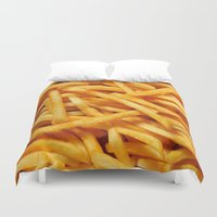 french fries Duvet Covers featuring French Fries by I Love Decor