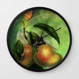 Bombay Mangos with Butterfly, Vintage Botanical Illustration Collage Art Wall Clock