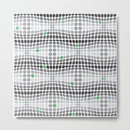 Dottywave - Grey and green wave dots pattern Metal Print